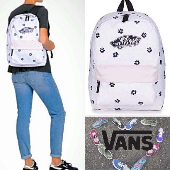 3d73a06d87d Vans Bags   Nwt Super Cute White Lavender Realm Backpack   Poshmark